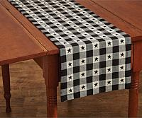 Checkerboard Star Cotton Table Runner 13x54 in