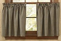 Star Patch Plaid Lined Tier Curtains 72WX24L