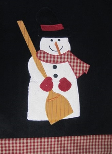 Country Frosty Fred 2 Snowman Black Table Runner 13x36