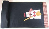 Frosty Fred 2 Snowman Black Table Runner 14x36