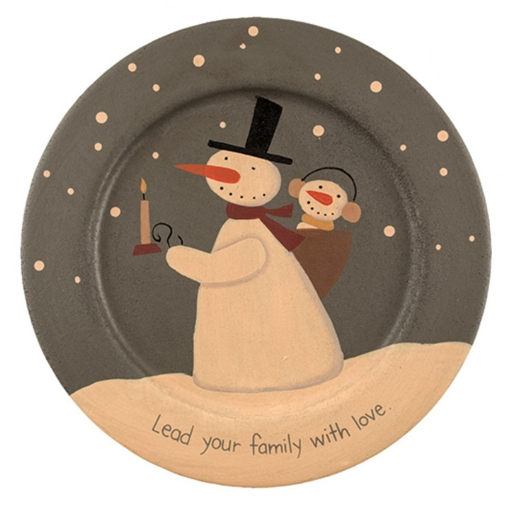 Lead Your Family With Love Snowman Wooden Plate