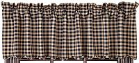 Navy Check Lined Valance