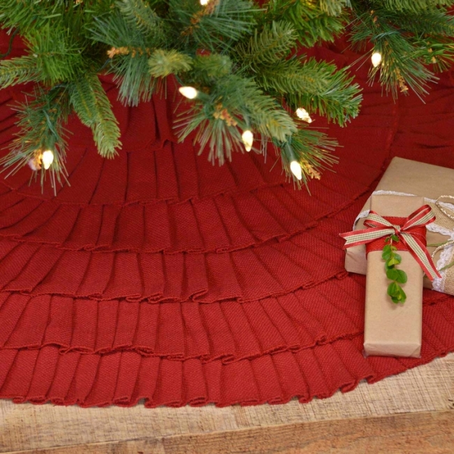 #32249 Barn Red Burlap Ruffled Christmas Tree Skirt 48