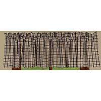 Black Salem Plaid Lined Valance 72x15.5 in